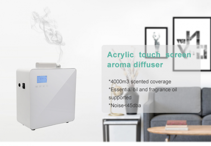 Fan Operated Air Aroma Machine Acrylic White 1L Touch Screen Aroma System